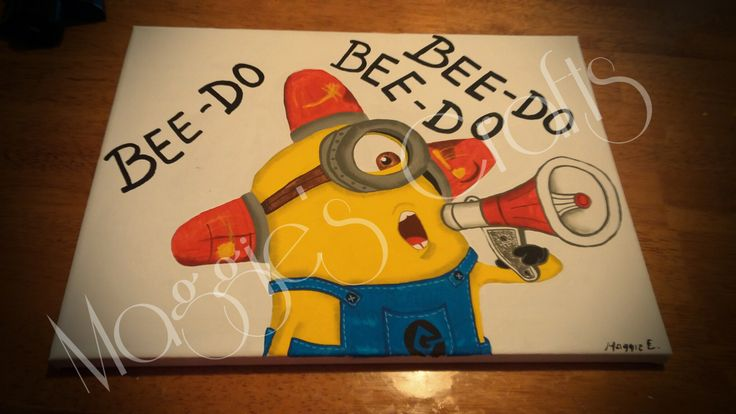 So cute! New 12x16 minion canvas painting. Despicable Me 2