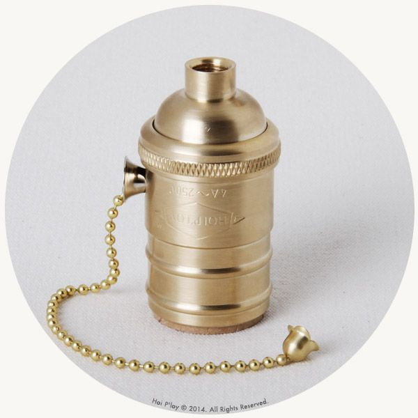 Machined Brass Lamp holder with Pull chain