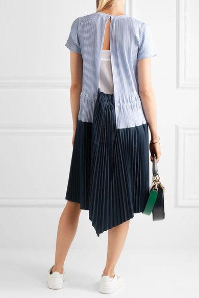 Sacai - Striped Plissé Cotton-poplin Dress - Navy