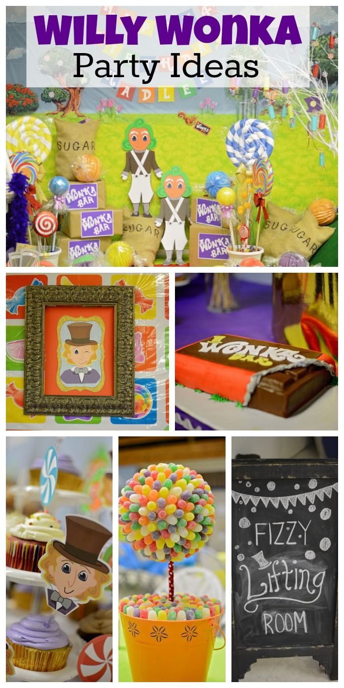 Willy Wonka girl birthday party ideas with a great Golden Ticket cake! See more party ideas at CatchMyParty.com.