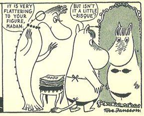 Snorkmaiden essaie son bikini noir - dessin original noir et blanc de Tove Jansson