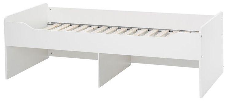 Białe łóżko dziecięce COMBEE      Nowoczesne, duże łóżko dziecięco-młodzieżowe pod materac 90x200 cm. Bezpieczne w użytkowaniu dzięki zaokrąglonym krawędziom. Wykonane z płyty laminowanej.