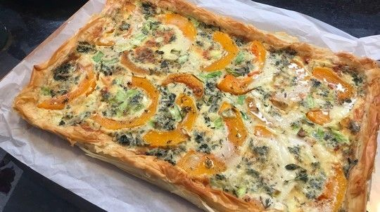 Jane's butternut squash and blue cheese flan
