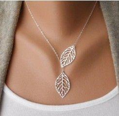 Postříbřený náhrdelník - řetízek s propojenými listy