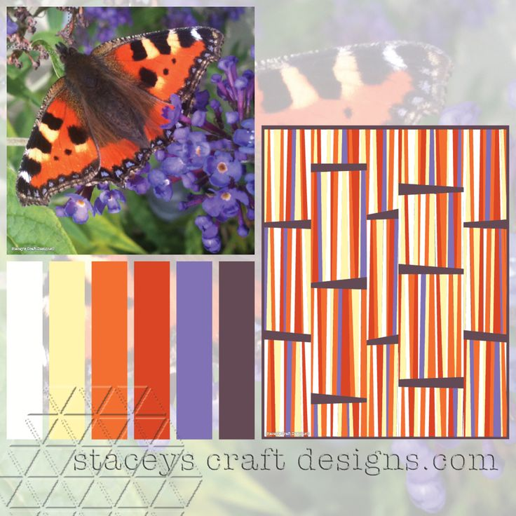 Colour Palette Small Tortoiseshell Butterfly by Stacey's Craft Designs
