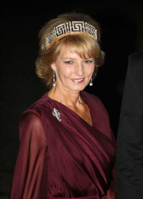 Crown Princess Margarita of Romania (born 1949) wears the Romanian Greek Key Tiara
