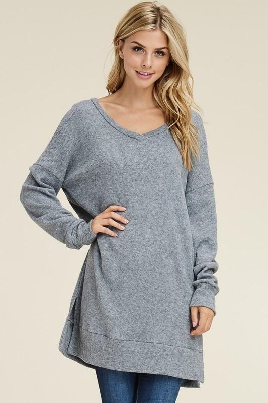 Babette Gray Tunic Sweater Plus Fashion Clothing Shoes