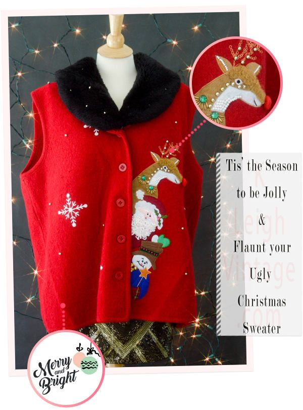 Ugly Christmas Sweater Vest, Tacky Christmas Vest, Red Reindeer Sweater, Women's Plus Size Sweater Vest  1X, Ugly Christmas Jumper, Fur Vest by KLeighVintage on Etsy