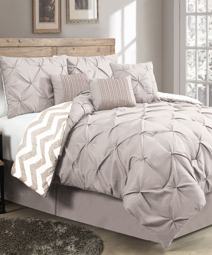 Taupe Ella Pinch Pleat Seven Piece Comforter Set 38