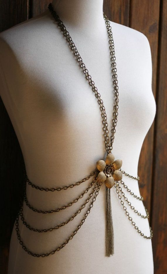 RESERVED Brass body chain with flower