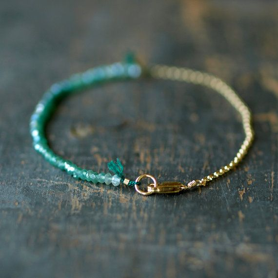 Onyx vert Ombre Bracelet spectre chaine dorée délicate fait main bijoux de…