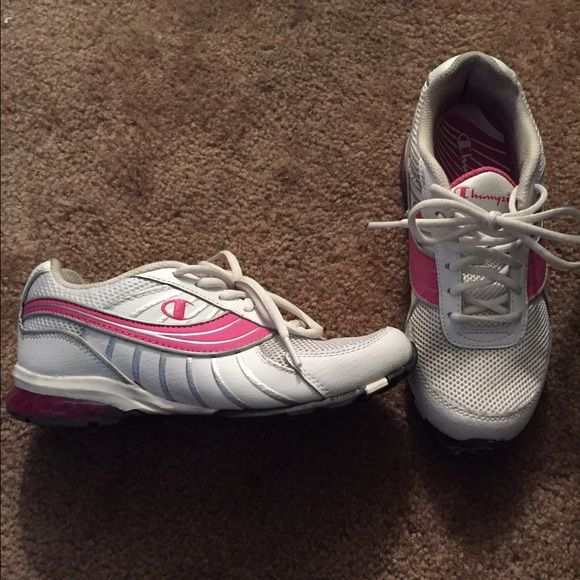 Champion shoes Pink and white shoes. Worn a few times but still in good condition. Champion Shoes