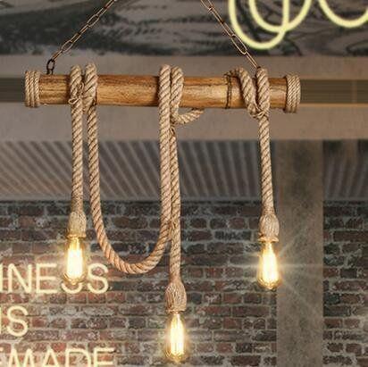 Amazing KHSKX Amerikanische l ndliche Industrie wind Bambus Seil Kronleuchter vintage kreative pastorale Bar Cafe Restaurant bar Lampe