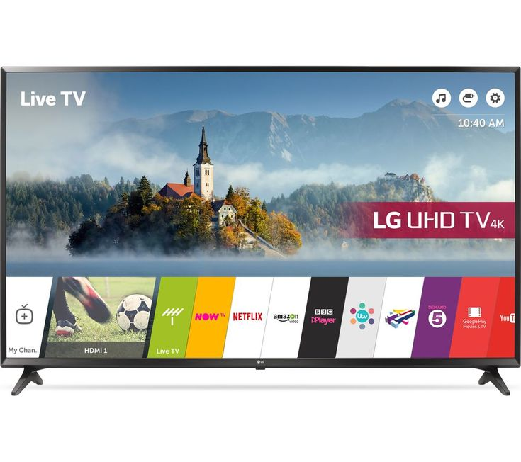 "Buy 65""  LG 65UJ630V  Smart 4K Ultra HD HDR LED TV Price: £1079.00 Top features: - 65"" 4K screen delivers stunning pictures for an immersive experience - Active HDR displays colours accurately with sharp contrast - Comprehensive Smart features make catching up simple - Freeview Play lets you scroll back and watch things you've missed 65"" 4K screenFrom 4K films to huge sporting events,..."
