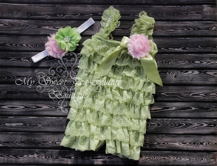 Sage Embelished Lace Petti Romper & Headband Set - Ruffle Romper Set- Romper- Baby Petti Romper- Headband- Photo prop- Birthday Outfit- Pink by MySweetPeaCouture on Etsy