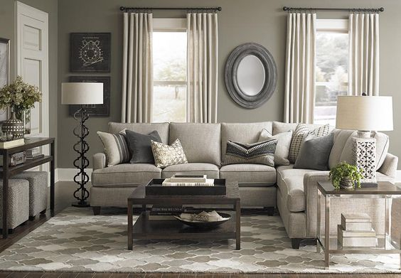 Custom Upholstered L-Shaped Sectional by Bassett Furniture. Design your own sectional by specifying a frame size; arm, base, cushion and back styles; and one of many fabrics.:
