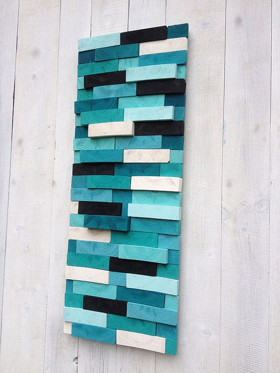 Modern Reclaimed Wood Art Wall Sculpture Abstract by WallWooden
