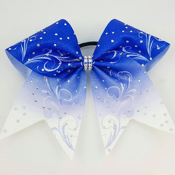 Blue Cheer Bow  Cheer Bows With Rhinestones  by Arrowandbowss