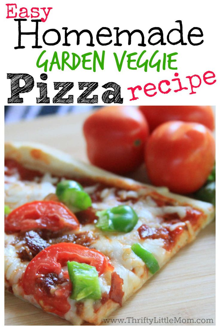 This is a very quick and easy homemade garden veggie pizza recipe for anyone who want a healthy, family friendly dinner in a hurry!