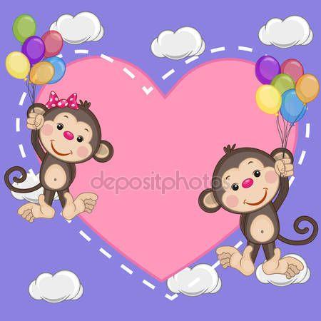 Descargar - Los amantes monos — Ilustración de stock #68563561
