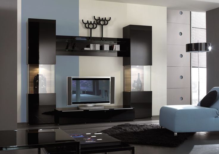Pleasant Interior Remarkable Black And Glass Wall Unit For Living Room  Entertainment Furniture Design Exclusive And Modern Wall Unit Design Ideas  Mode ...