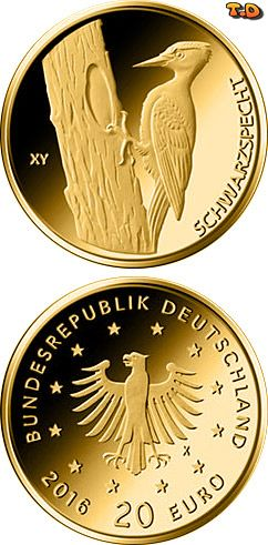 N♡T.20 euro: Schwarzspecht Country:	Germany  Mintage year:	2021 Face value:	20 euro Diameter:	17.50 mm Weight:	3.89 g Alloy:	Gold Quality:	Proof Mintage:	200,000 pc
