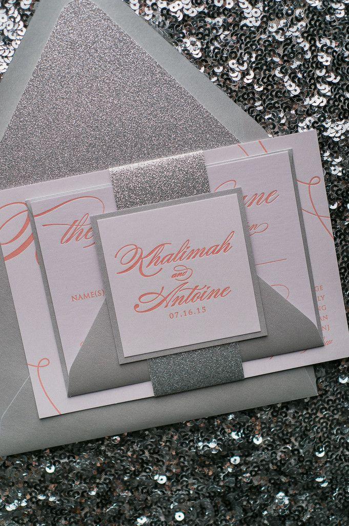 lauren suite glitter package coral wedding invitationswedding - Coral And Grey Wedding Invitations