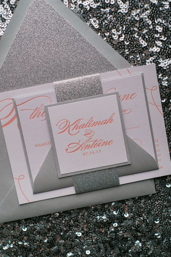LAUREN Suite Glitter Package, coral and silver, coral wedding invitations, spring invitations, silver glitter