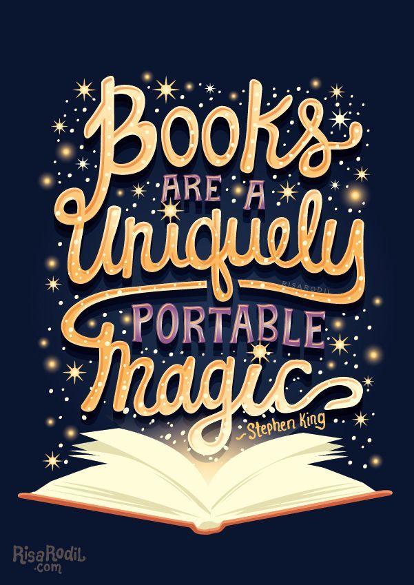 """Books are a uniquely portable magic (4/?) Available here: RB // S6 // TeePublic // DBH  """"Livros são uma mágica exclusivamente portátil"""""""