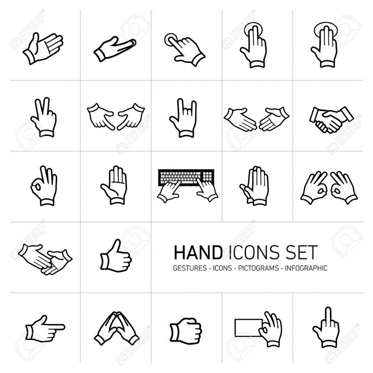 Modern Flat Design Vector Hand Icons And Pictograms Set Black ...