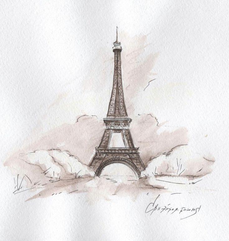 Картинки париж нарисованные карандашом