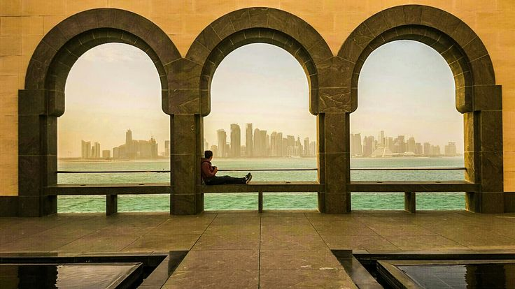 view of Doha city Qatar from the MIA (museum of Islamic art)  travel traveling backpacking wanderlust digitalnomad digital nomad travelcouple travellove aroundtheworld middleeast middle east