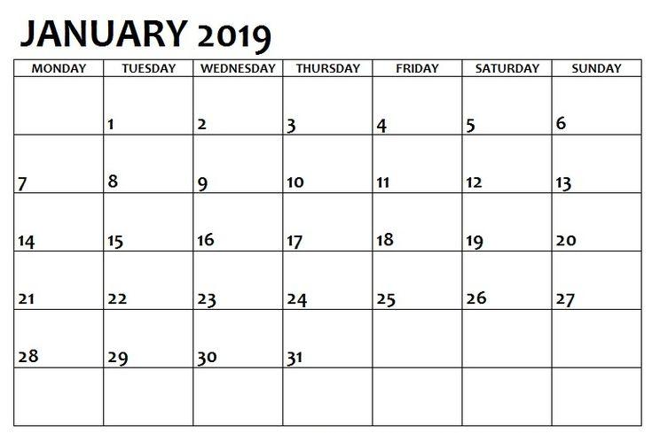 January 2019 Printable Calendar Template January 2019 Calendar