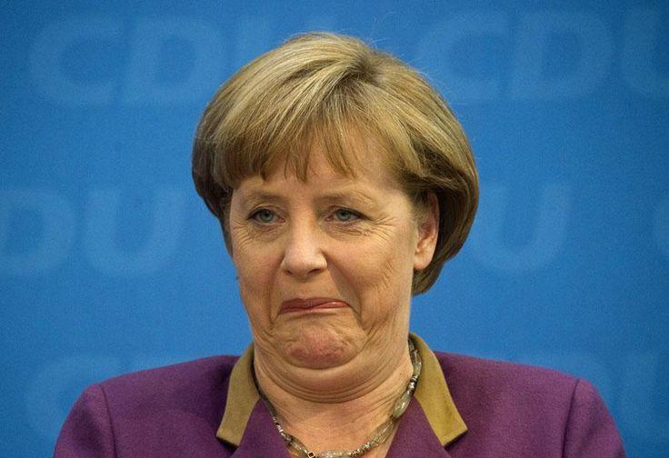 La chancelière allemande, Angela Merkel, fait la grimace