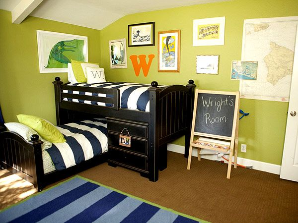 love that this bunk bed formation allows for the top bunk not to be rediculously high!  Project Nursery Kids Room Decorating Ideas