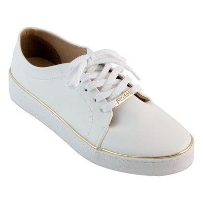 Tênis Vizzano Casual Branco com Detalhe Ouro - Iza Shoes