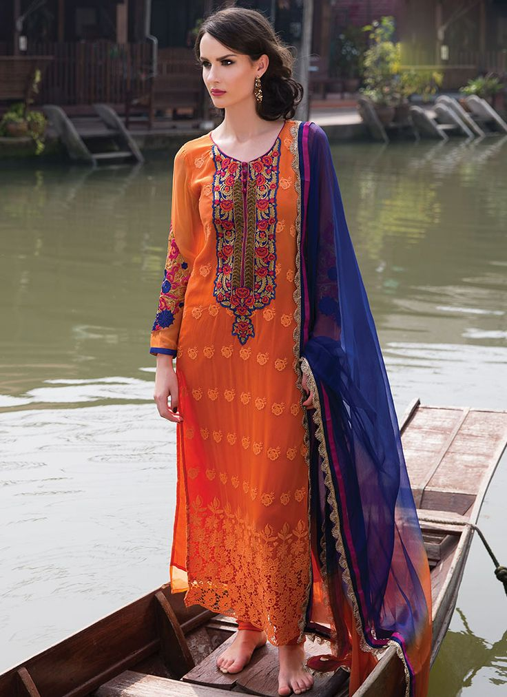 Astounding Orange Georgette Churidar Suit