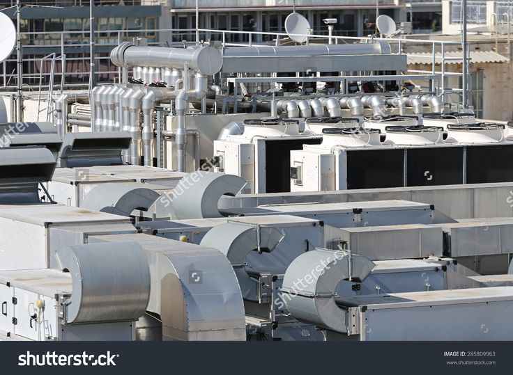 Heating Ventilation And Air Conditioning At Building Roof Fotka: 285809963 : Shutterstock