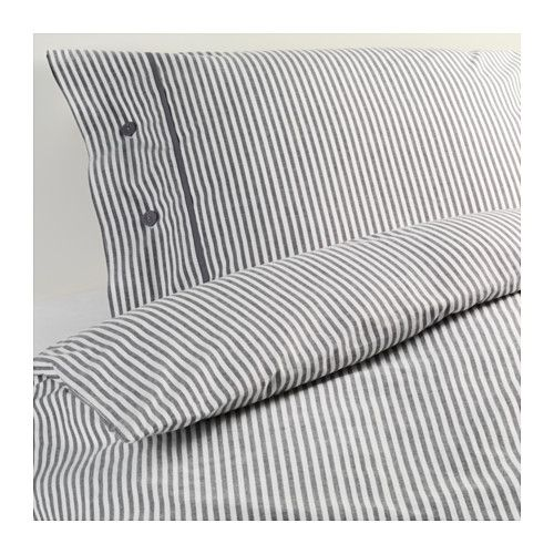 IKEA - NYPONROS, Duvet cover and pillowcase(s), Full/Queen (Double/Queen), , Yarn-dyed; the yarn is dyed before weaving; gives the bedlinens a soft feel.Decorative, fabric-covered buttons keep the comforter and pillow in place.:
