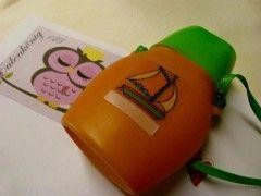 Kinder-Trinkflasche, 70erJahre. So undicht, dass ohne Trageriemen unnutzbar.