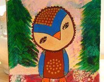 Piccolo gufo nei boschi misti Media pittura su 8x8 tela, gufo dipinto acrilico, opere d'arte originali, vivaio arte, Oggettistica per la casa, appeso a parete,