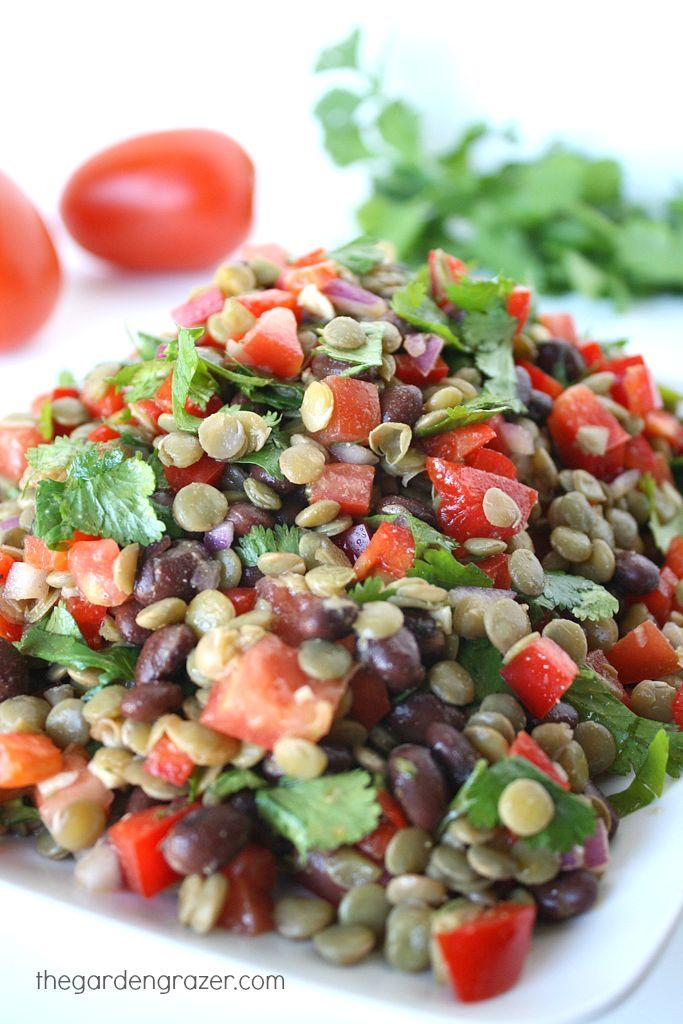 Black Bean Lentil Salad with Cilantro and Cumin-Lime Dressing (vegan, gluten-free)