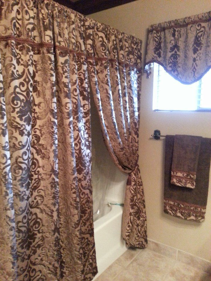 Old world tuscan bathroom idea hang lush curtains around for Old world curtains and drapes
