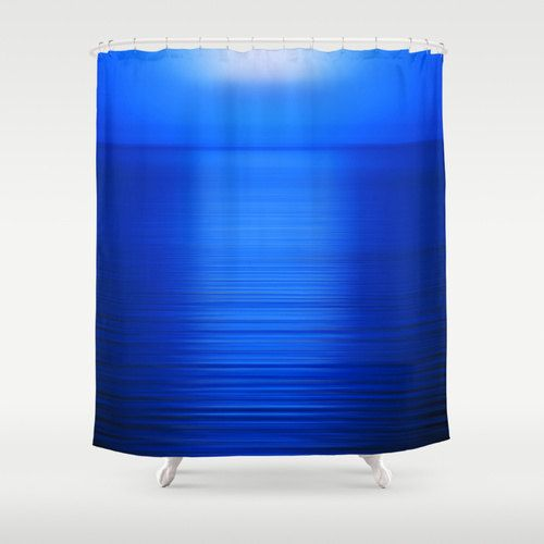 Blue Shower Curtain Deep Blue Sea At Sunset Shower Curtain Washable Fabric Electric Blue Bathroom Decor