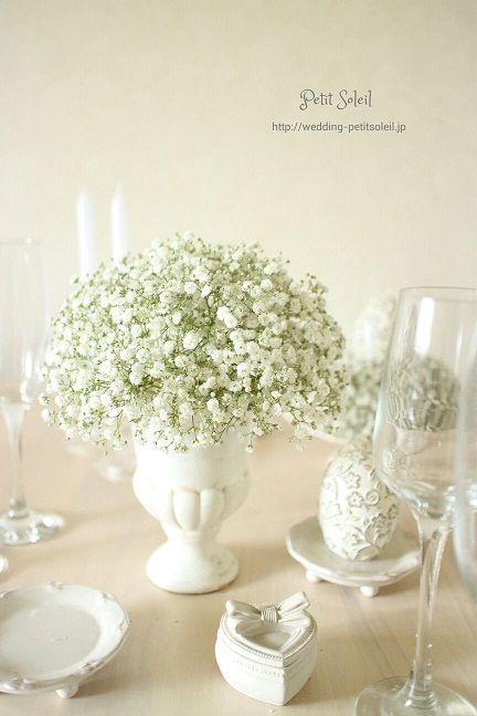 かすみ草のゲストテーブル装花 baby's breath wedding table flower