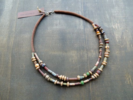 Earthy picasso matte glass necklace with a touch door zsazsazsu1963