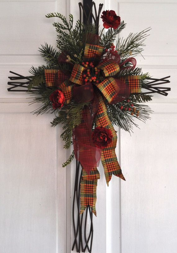 Christmas Cross Door Hanger Wall Decor Christian by RedBarnWreath
