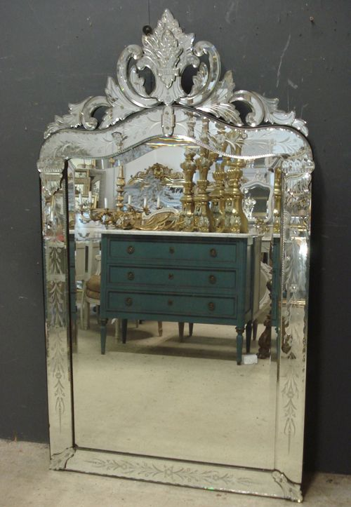 large 19th century antique venetian mirror from