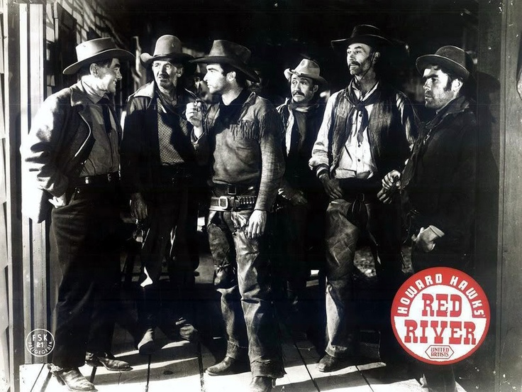 RED RIVER (1948) - Cattle buyer Harry Carey greets Montgomery Clift and his band of cowboys upon their reaching Abilene, Kansas - Directed by Howard Hawks - United Artists.
