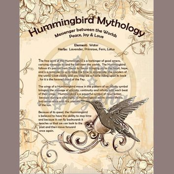HUMMINGBIRD MYTHOLOGY, Digital Download,  Book of Shadows Page, Grimoire, Scrapbook, Spells, Wiccan, Witchcraft,